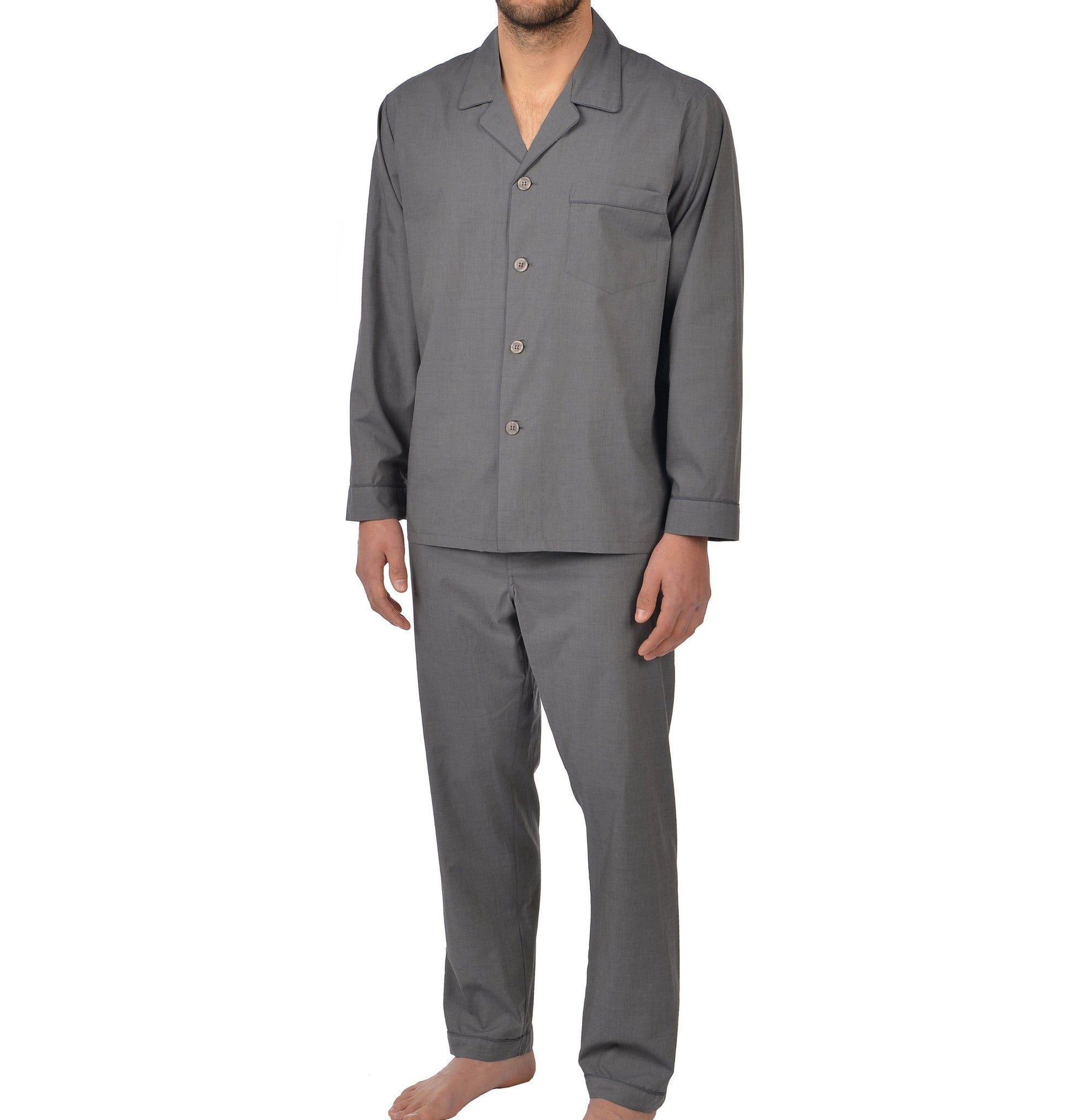 Cotton Long Sleeve Pajama in Charcoal
