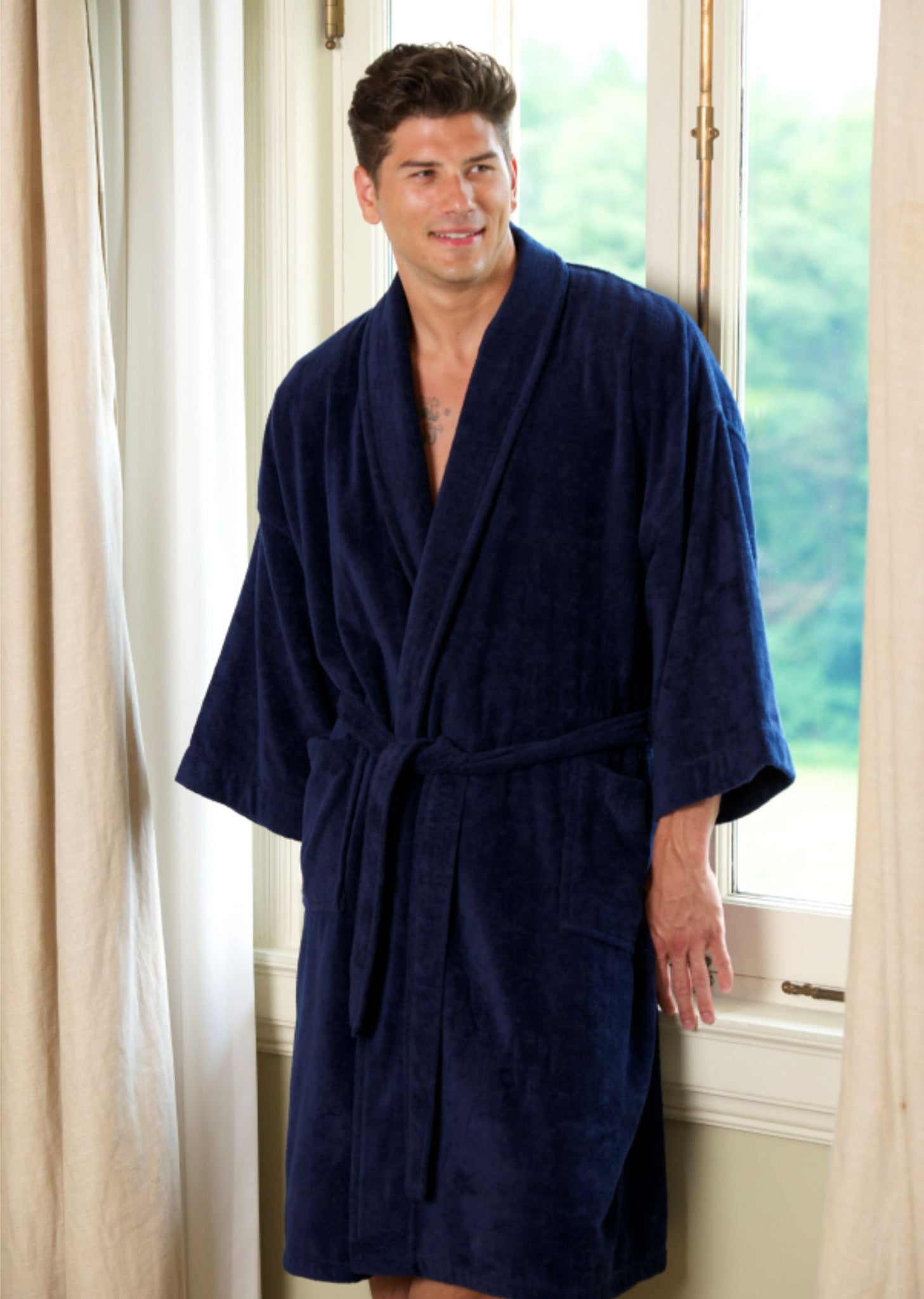 Solid Terry Velour Shawl Robe