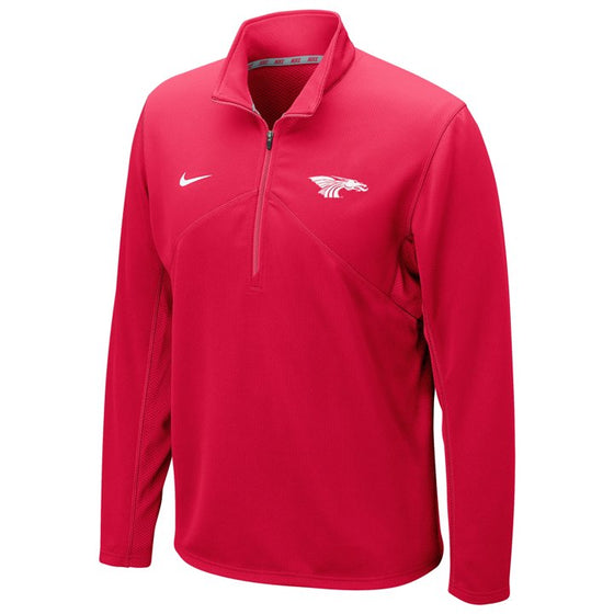 Red 100% poly Men's Dri-Fit 1/2 Zip Jacket.  Has a white embroidered Power Dragon on the left upper front and an embroidered swish sign on the right upper front.