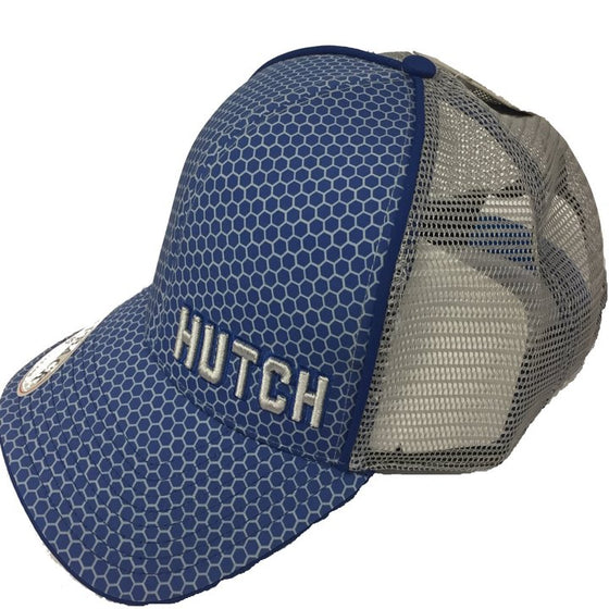"Gray mesh hat with blue piping and hexagon beehive graphic on blue background.  It has a snapback.  ""Hutch"" is embroidered in gray on the front of the hat."