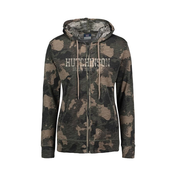 "100% polyester full zip camo lightweight hood with two front pockets.  A distressed ""Hutchinson Blue Dragons"" decal is on the upper front of the jacket."