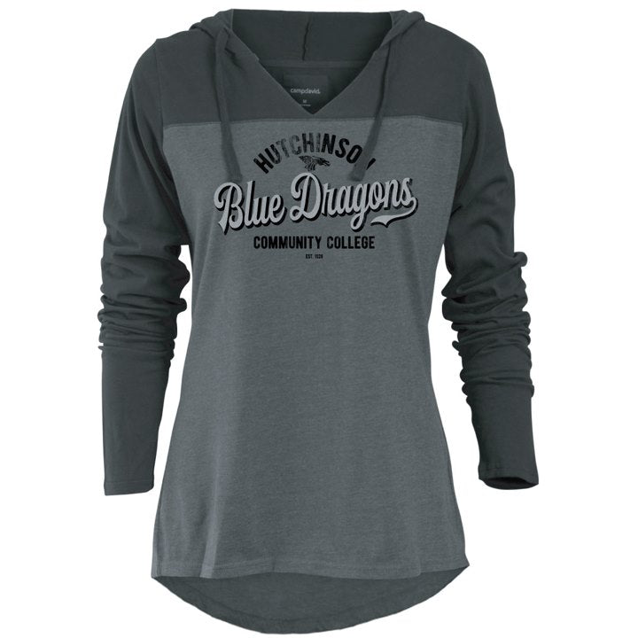 "The dark gray body is a lightweight 60% cotton/40% poly.  The black sleeves and hood are 100% cotton.  ""Blue Dragons"" is in a silver glitter decal."