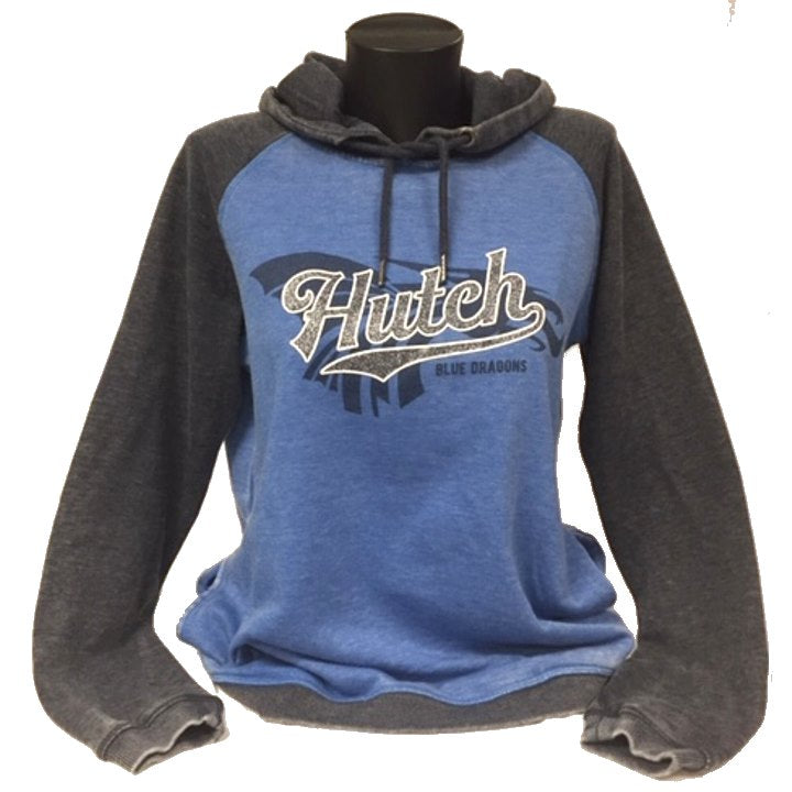 "The raglan contrasting distressed fabric is 53% cotton/47%poly a soft light weight hoodie.  ""Hutch is out lined in white and the fill is a dark gray metallic."