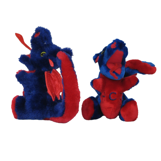 Stuffed dragons in royal blue and red fabric