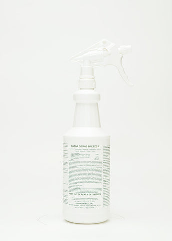 Labeled Razor Citrus Breeze III Quart Spray Bottle Empty w/ Trigger Sprayer