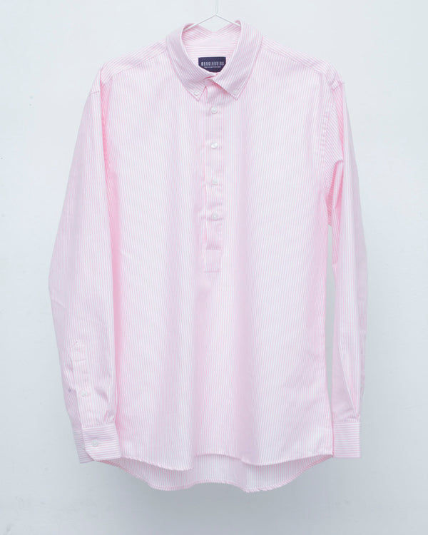 Half Placket Pink and White Striped Cotton Button Down Oxford Shirt