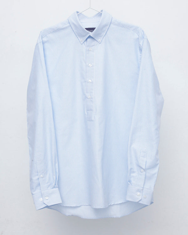 Half Placket Blue and White Striped Button Down Shirt