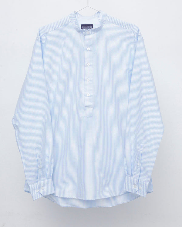 Half Placket Blue and White Striped Grandad Collar Shirt