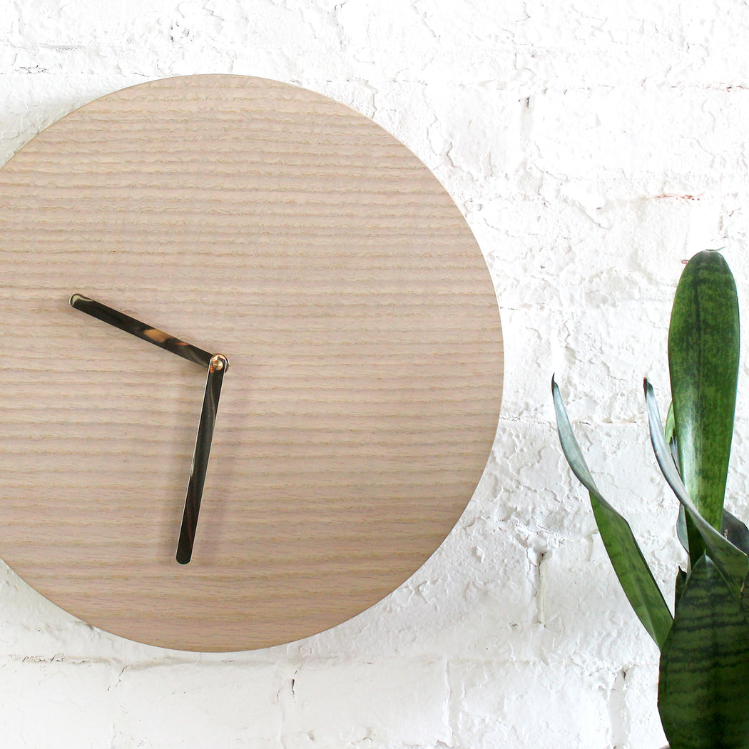 Half and a Third, Half and a Third Clock, Goldwashed Ash Clock, Katey Mangels, Handmade Clock, Half and a Third Homewares