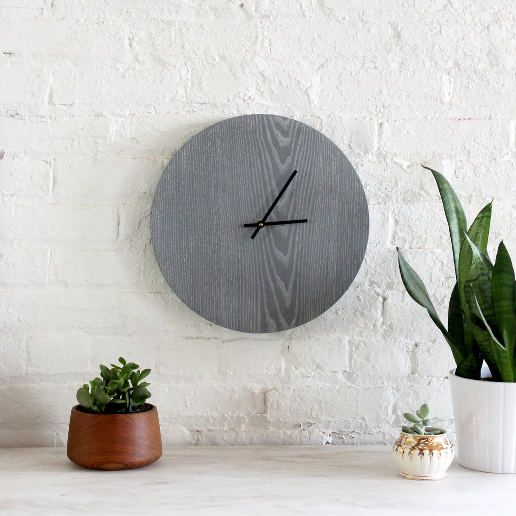 Half and a Third, Half and a Third Clock, Grey Whitewashed Ash Clock, Katey Mangels, Handmade Clock, Half and a Third Homewares