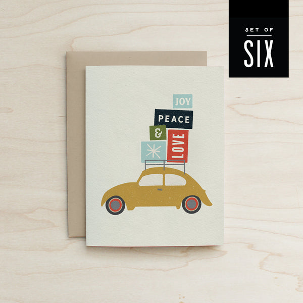 Boxed Set of 6 Beetle Joy, Peace, & Love Card