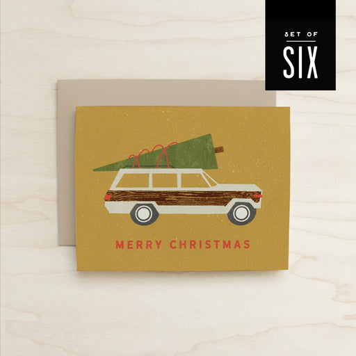 Boxed Set of 6 Woody Wagoneer Christmas Card