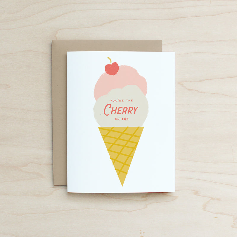 Half and a Third, Katey Mangels, Greeting Card, Cherry on Top Card