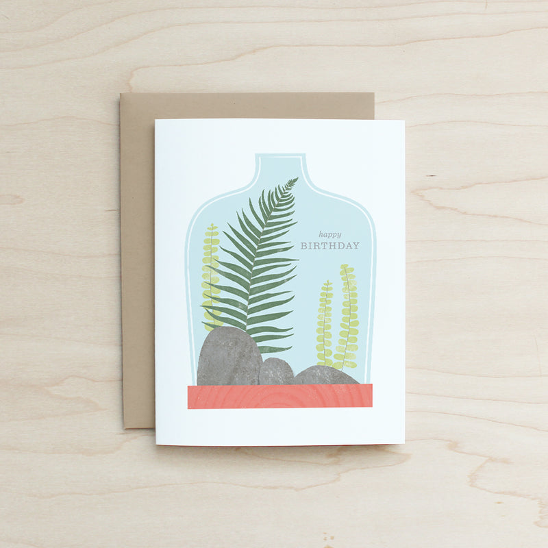 Happy Birthday Terrarium Card, Half and a Third, Katey Mangels, Half and a Third Card, Greeting Card, Kate Mangels