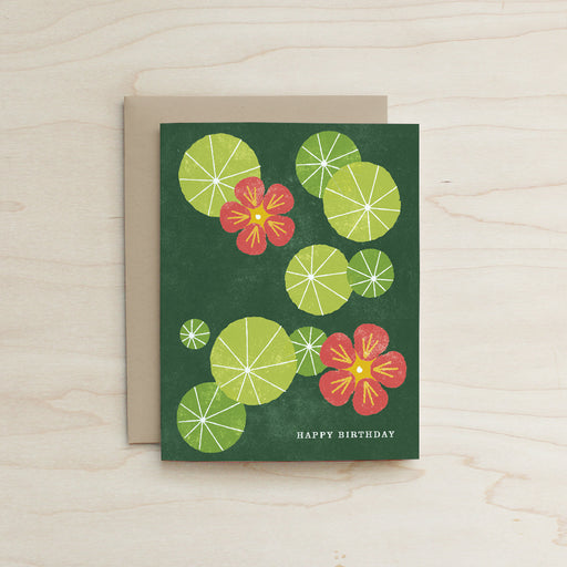Nasturtium Mothers Day Card, Mothers Day Card,  Katey Mangels, Nasturtium Card, floral card, half and a third card, half and a third, Half and a Third, Greeting Card, Mom Day Card, Kate Mangels