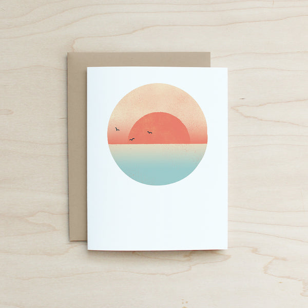 Sunset Card, Half and a Third, Katey Mangels, Half and a Third Card, Half and a Third Greeting Card