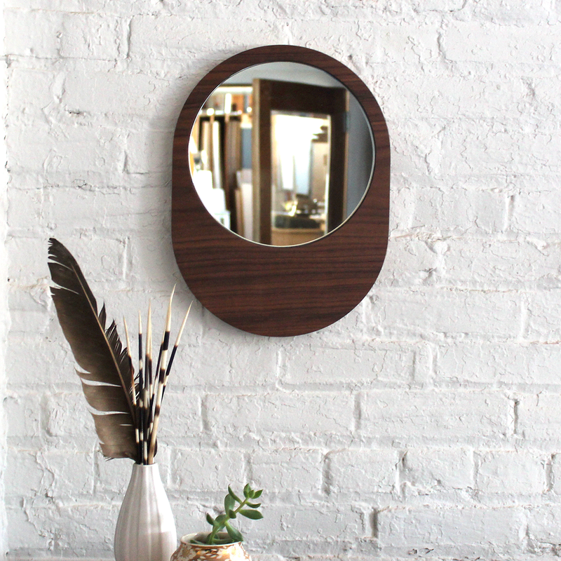 Large Pill Mirror - Walnut No.2