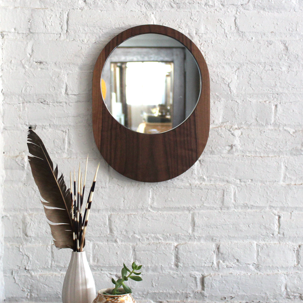 Large Pill Mirror - Walnut No.3