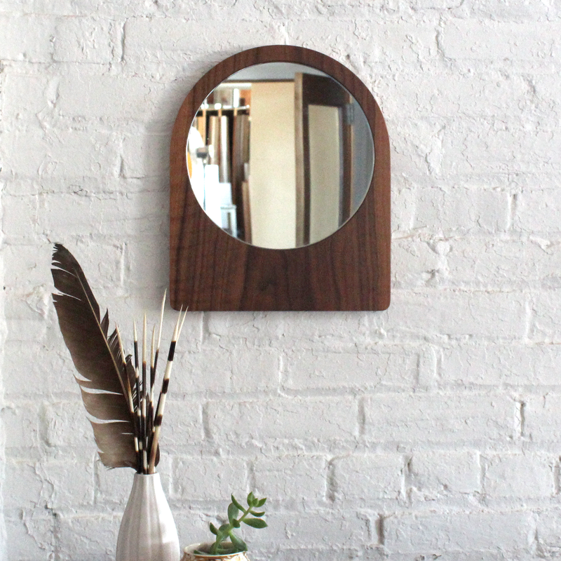 Large Ring Mirror - Walnut No.2