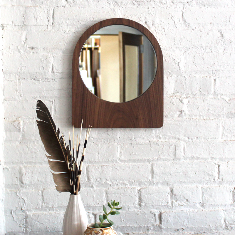 Large Ring Mirror - Walnut No.3