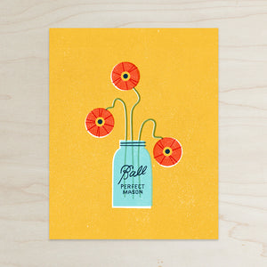 Poppies in Ball Jar Print