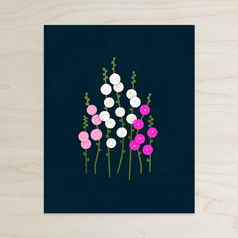 Hollyhocks Print