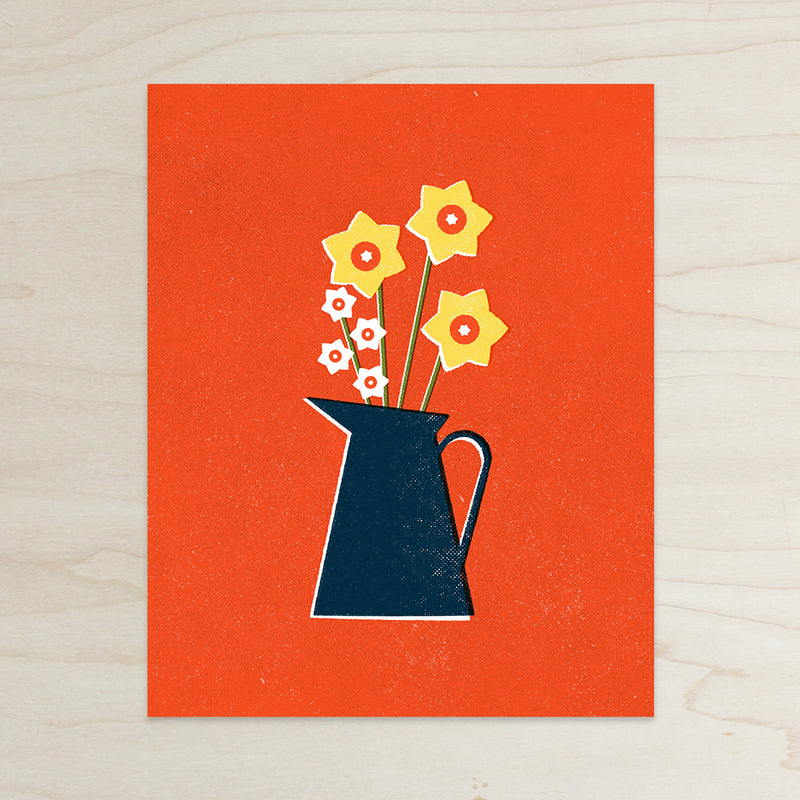 Daffodils in Pitcher Print