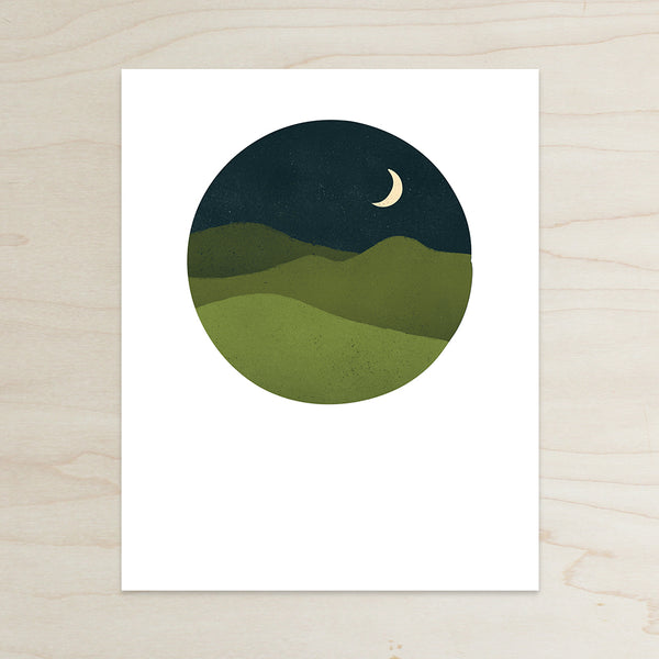 Blue Ridge Mountains Print, mountains at night print, Katey Mangels, mountain print, Circle Print, Cresent Moon Print, Half and a Third, Half and a Third Print, Kate Mangels