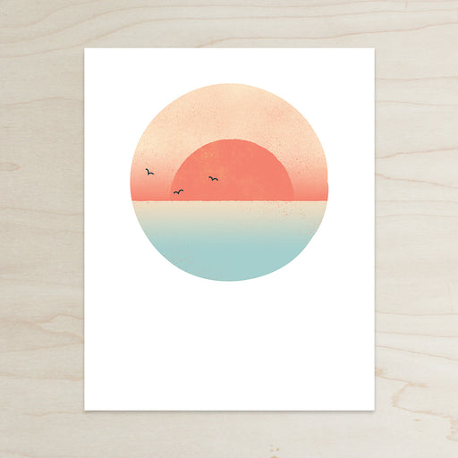 Sunset Beach Print, Sunset Print, Beach Sunset Print, Dusk Print, Sunset and Birds Print, Simple Print, Sunset and water Print, Half and a Third, Half and a Third Print, Kate Mangels, Kate Mangels Design, Katey Mangels, Katey Mangels Design