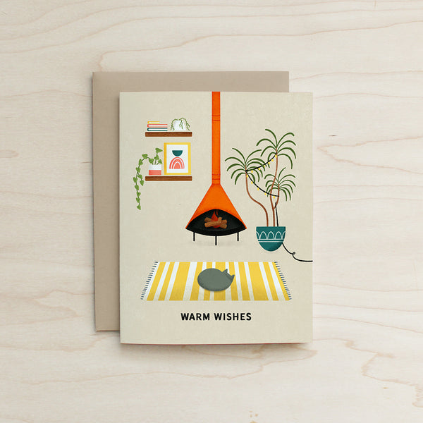 Warm Wishes - Mid Century Living Room Card