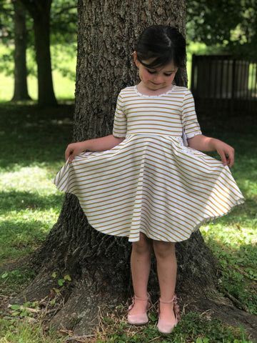 Gold Stripe Twirl Dress