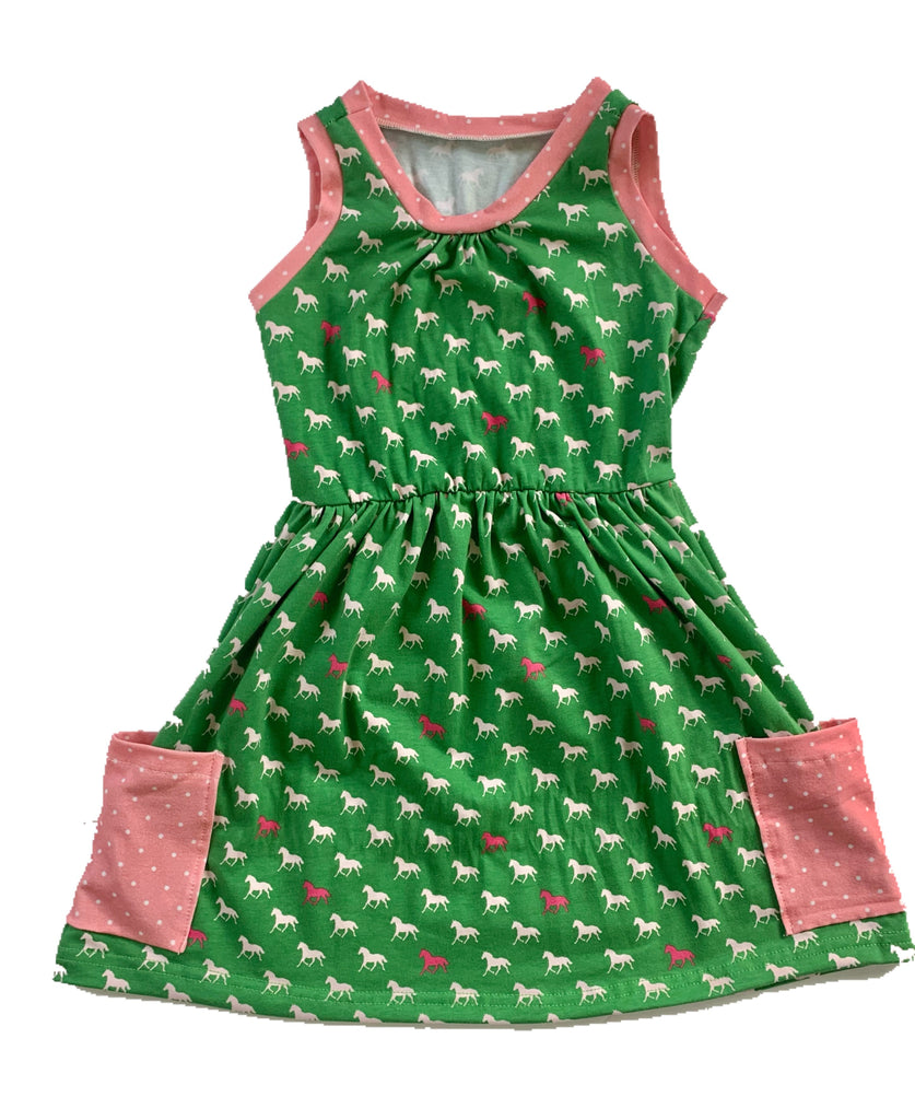 Pink & Green Pony Tank Dress