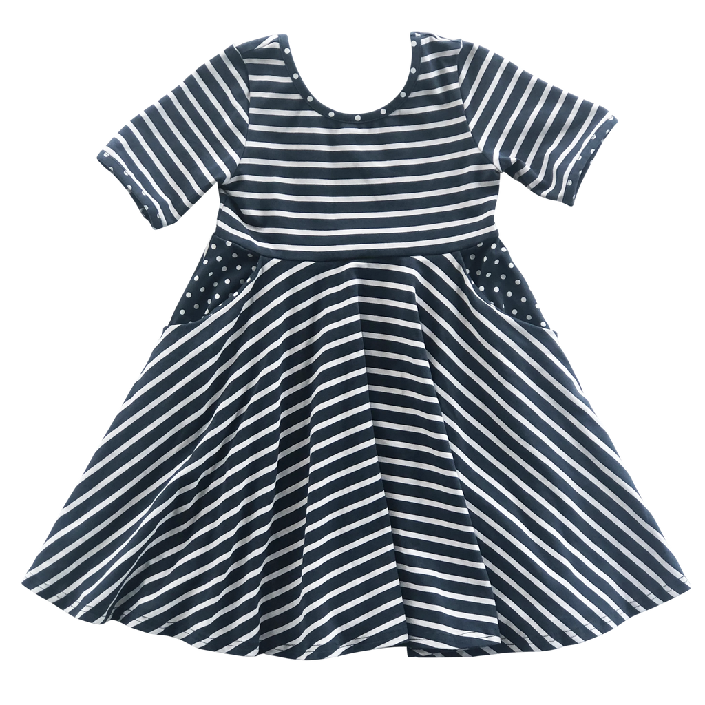 Navy Stripe Twirl Dress
