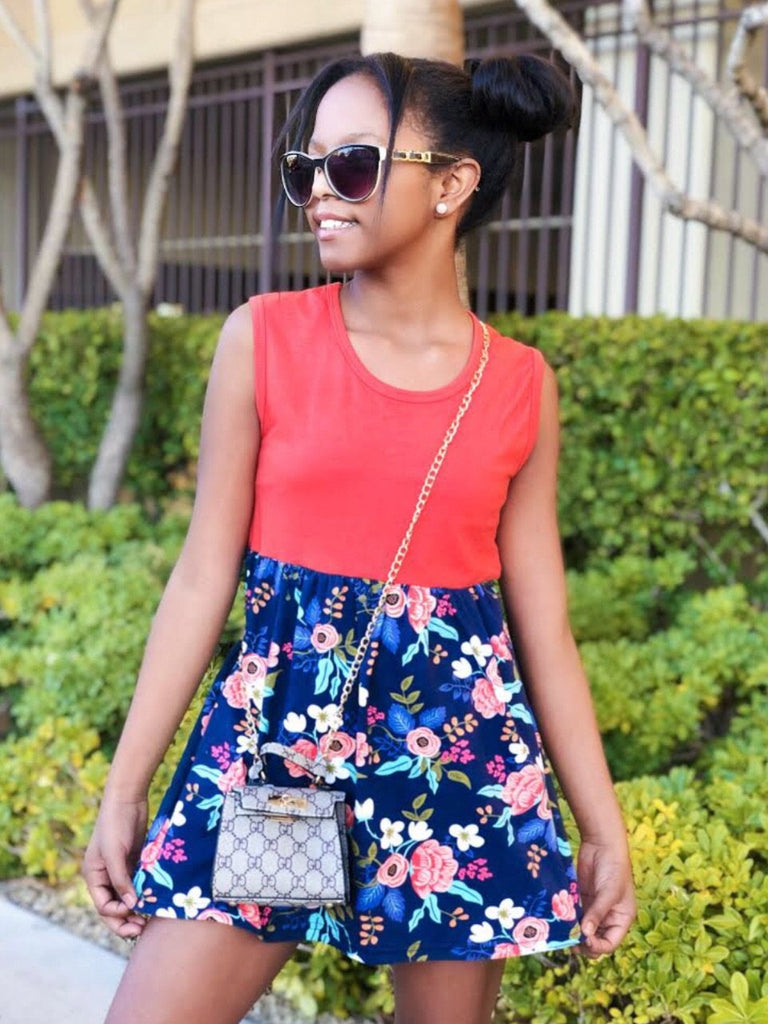 Dress - Coral/Navy Floral Tank Dress