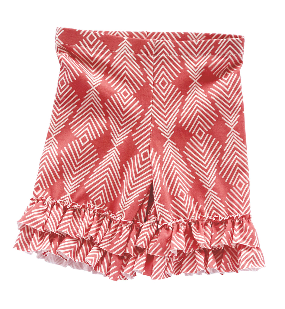 Legging - Ruffle Coral Feather Shorts
