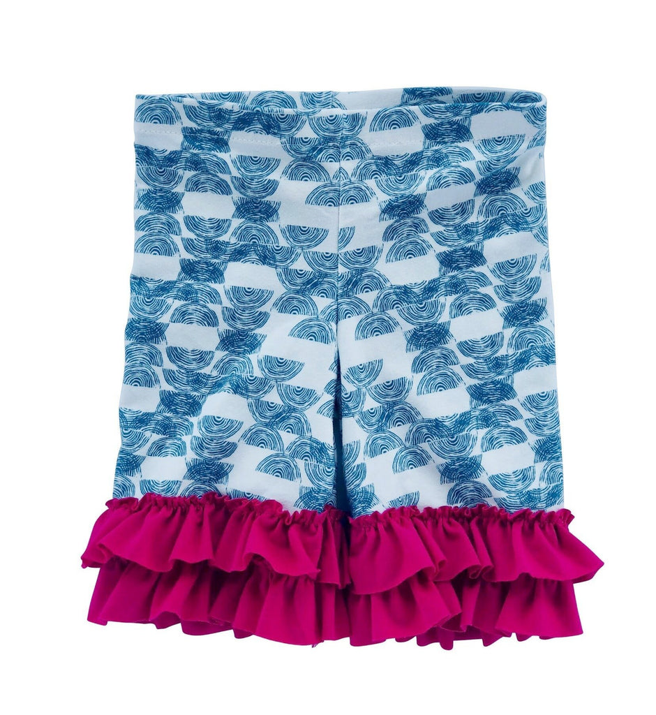 Legging - Teal Haystack Shorts With Pink Ruffle