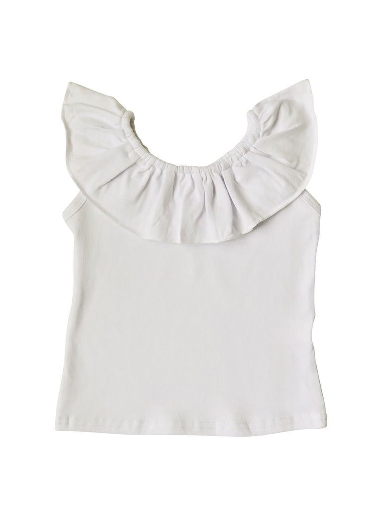 Ruffle Neck Tank - White