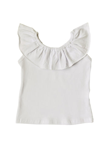 Ruffle Neck Tank in White