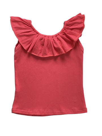 Ruffle Neck Tank - Coral