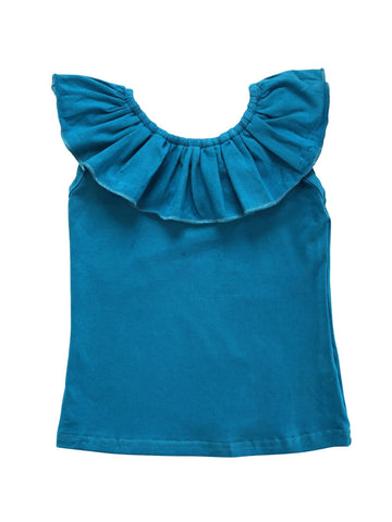 Ruffle Neck Tank - Peacock