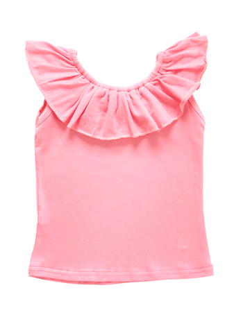Ruffle Neck Tank - Light Pink