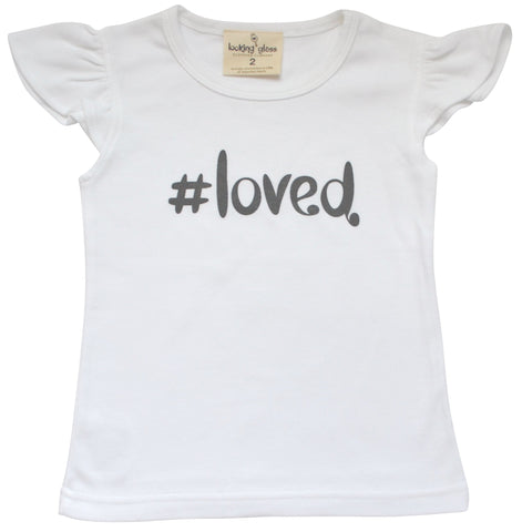 Shirt - #Loved White Flutter Sleeve Tee