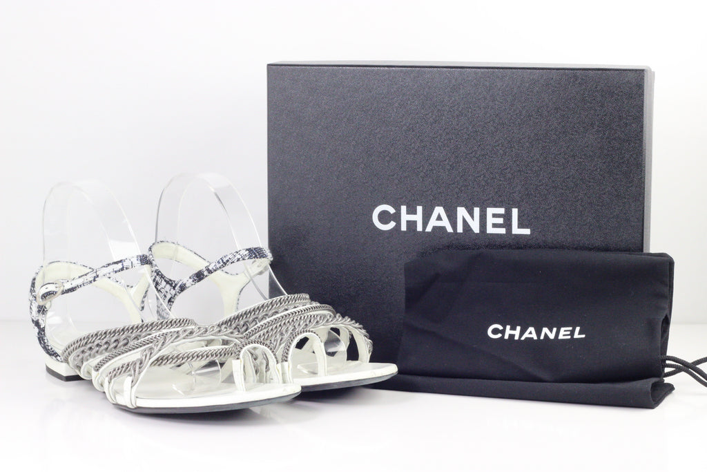 CHANEL TWEED CHAIN SANDAL