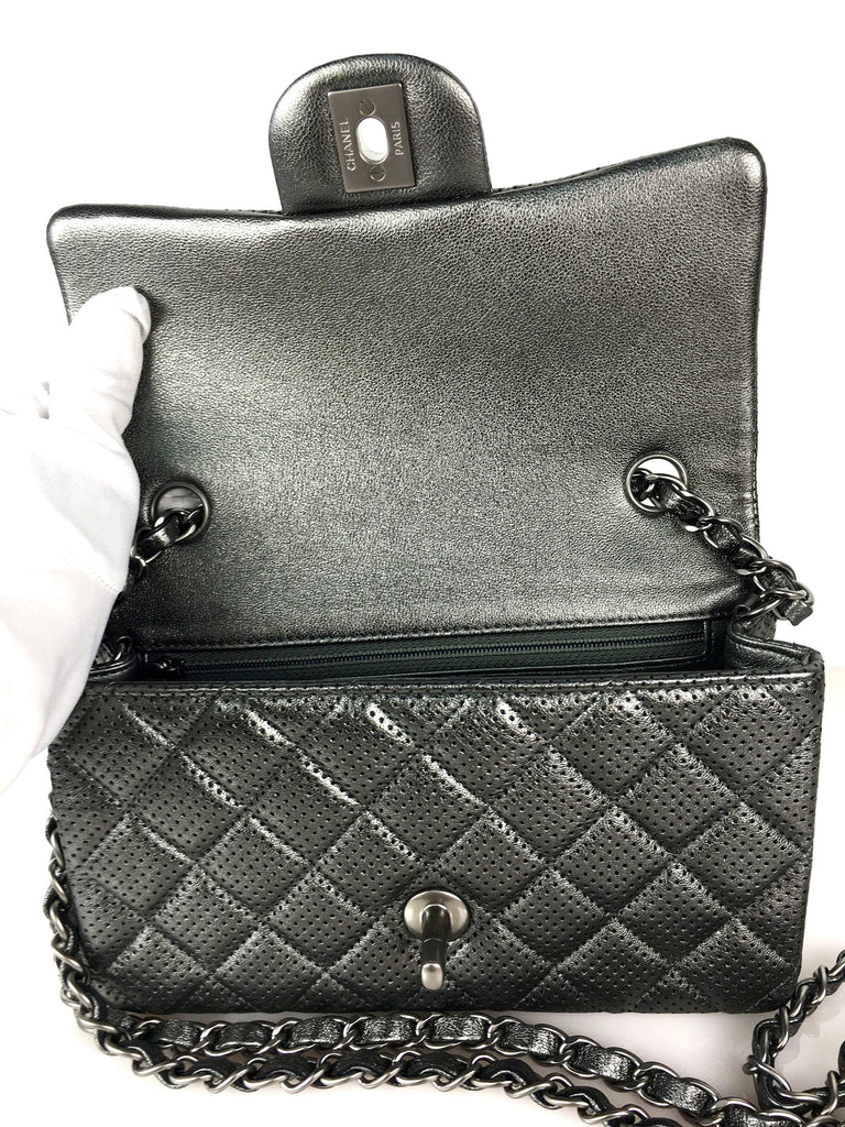 CHANEL METALLIC GREY FLAP BAG (SOLD)