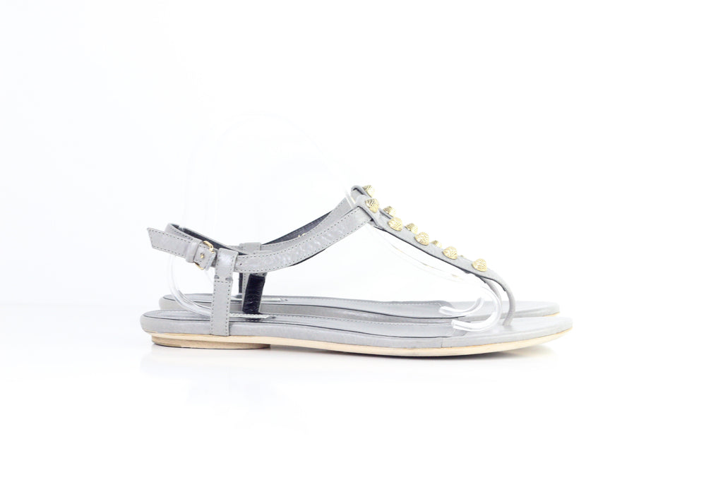 Pre- Owned BALENCIAGA ARENA STUDDED FLAT SANDAL US:11
