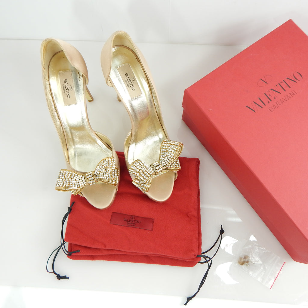 Valentino Satin Diamond Bow Heel