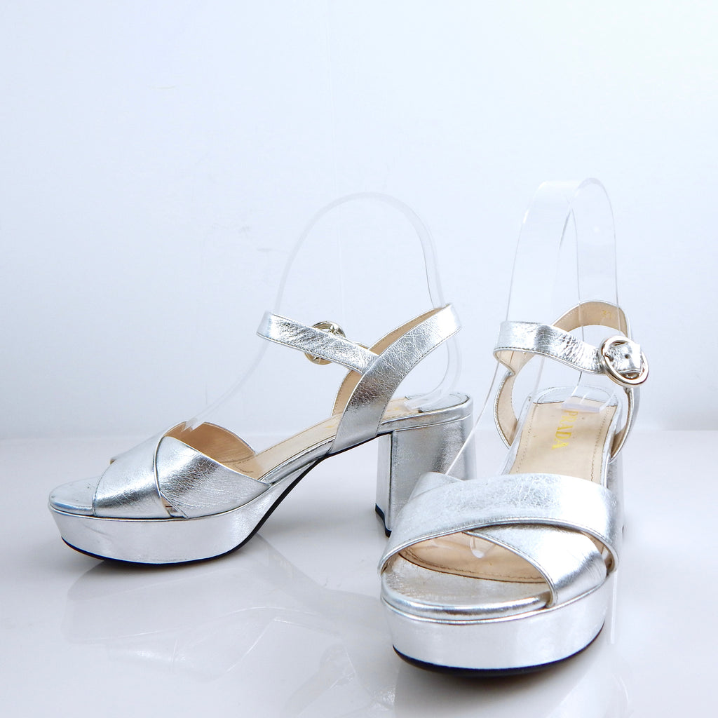 Silver Prada Disco Wedge