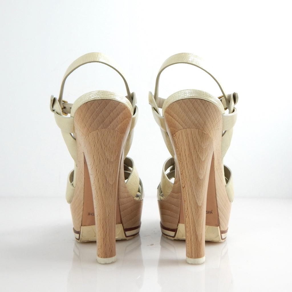 Yves Saint Laurent Pearl Tribute Wood Statement Pumps