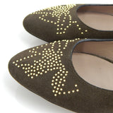 Chloé Brown Suede Flats With Gold Studs