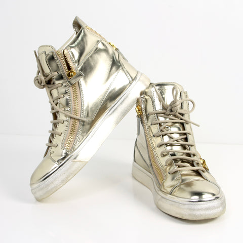 Giuseppe Zanotti Metallic Gold High Top Sneakers